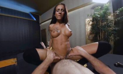 Valentina Massage; brunette masseuse fit tan big tits shaved pussy tattoos cowgirl creampie