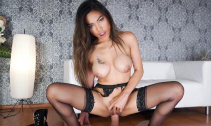 Nuru Nympho; Asian huge tits black lingerie nylons titjob shaved pussy