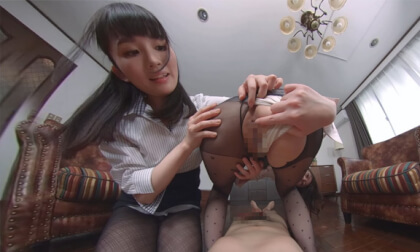 Misato Nonomiya and Ikumi Kuroki – Having My Dick Teased By Lewd Women in Black Pantyhose Part 2