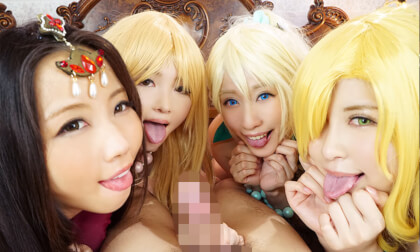 Ririka, Rui Hizuki, Mikuru Shiiba, and Kurumi Tamaki – Reincarnated into a Alternate Universe for Elf Harem Sex at a Fantasy Pub Part 2