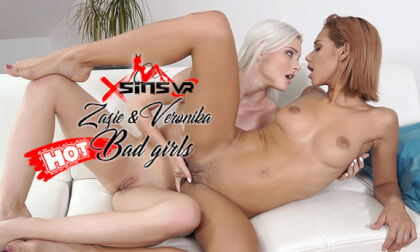 Zazie & Veronika - Bad Girls; Hot Lesbians on the Bed Voyeur VR 3D Porn
