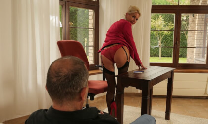 Bossy Milf Behaving Badly; Mature Blonde in Stockings Strips and Blowjob and Cowgirl