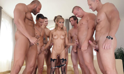 Veronika Leal - One Girl, Eight Cocks (Voyeur); Hot Pornstar Gangbang and Bukkake
