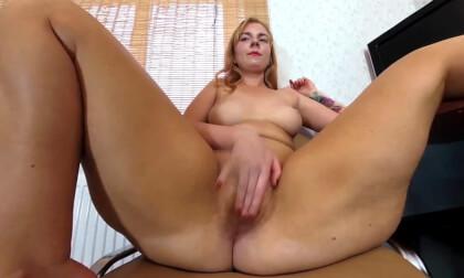 Agneta Masturbates Hairy Pussy