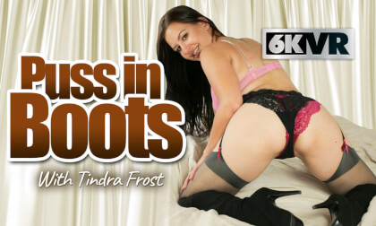 Puss In Boots - Big Tits Brunette Upskirt Leg Fetish Solo on the Bed
