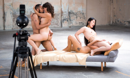 Foursome Hardcore 360; foursome orgy MFFF mixed race Asian black collar bondage