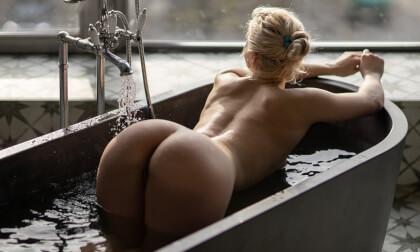 Sleeping Beauty; Hot striptease high class big tit blonde