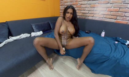 Saritha Olivieri is Waiting for you on the Sofa; dildo solo anal masturbation toy