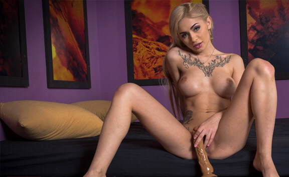 Olivia's First Toy - Fit Tattooed Solo Model Toying
