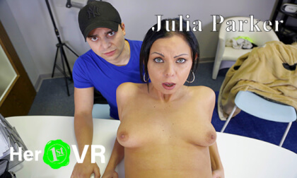 Julia Parker - VR Casting with her Boyfriend - Shaved Amateur Hardcore POV
