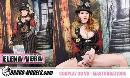 Cosplay Elena Vega is a Horny Steampunk Babe - Costume Redhead Solo Model Toying
