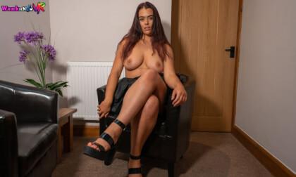 Control Your Prick - Big Tit Brunette British Babe Solo Striptease