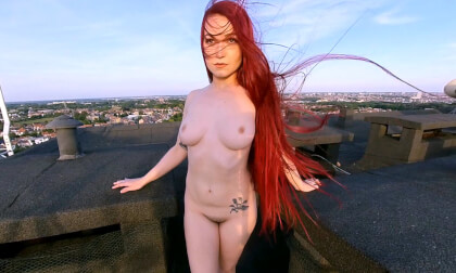 Lady Vengeance - Photoshoot on a Rooftop - Redhead Naked Outdoors