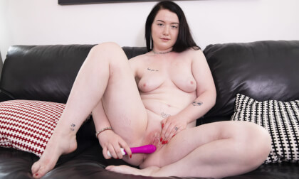 Young Amateur Viktorie Plays With Her Toy; Amateur Solo with Vibrator on the Couch