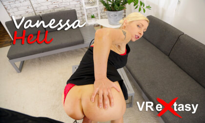 Vanessa Hell - Please Fuck Me In Different Positions - Cute Blonde in Hot Red Lingerie