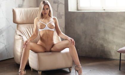 Angel Outside, Devil Inside - Incredible Busty Blonde Babe Solo Striptease