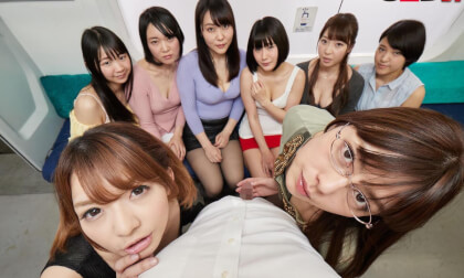You Accidentally Boarded the Ladies-Only Train Car; Reverse Gangbang CFNM with Japanese Babes