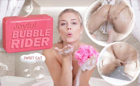 Joyful Bubble Rider - Shaved Blonde Fingering