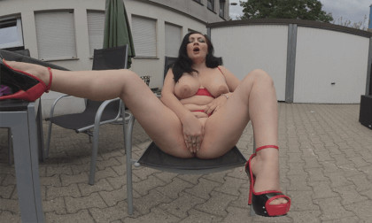 Elina - That Super Wet Cunt is Waiting for You; Busty Amateur in Red Lingerie and Red High Heels Masturbating