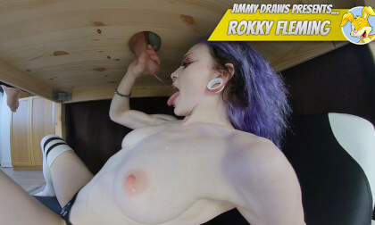 Rokky Fleming, Milking Table - Cute Busty Amateur Sucks and Strokes
