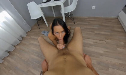 VR Blowjob with Freya Dee; Gorgeous Brunette Sucks your Cock in VR