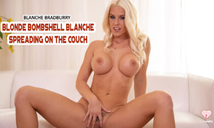 Blonde Bombshell Blanche Spreading On The Couch - Big Tits Pornstar Solo