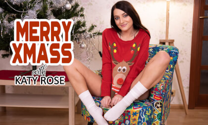 Merry Xmass with Katy Rose - Hot Babe Solo Striptease and Masturbation