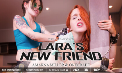 Lara's New Friend  Amarna - Lesbian Strapon Kitchen Sex