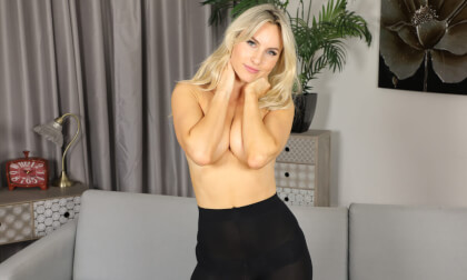Natasha Anastasia - Red Skirt; Gorgeous Supermodel Blonde Babe Stripping