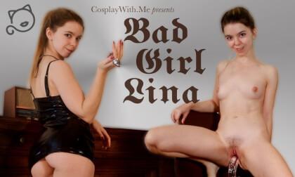Bad Girl Lina - Horny Teen Solo in Vinyl