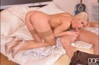 Sultry Cock Sucker: Blonde Russian Babe Swallows Cum in POV VR porn