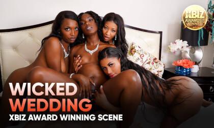 Wicked Wedding - Ebony Lesbian and MFFFF Orgy