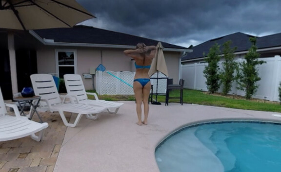 Babe Natasha In The Pool - Bikini Solo Model Swimming