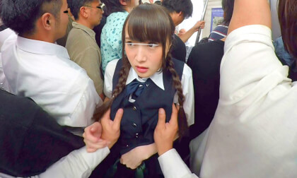 Bukkake Groping VR - Japanese Girl Gives a Blowbang on the Train Against Her Will