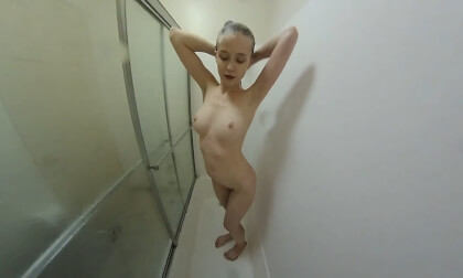 POV Shower Time - Petite Teen with Perky Tits