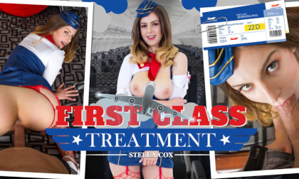 First Class Treatment - Big Tits Stewardess Fucking After Work