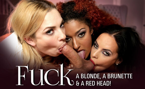Fuck a Blonde, a Brunette & a Red Head - FFFM Interracial Foursome