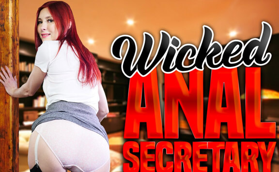 Wicked Anal Secretary Katy Gold - Redhead in Stockings