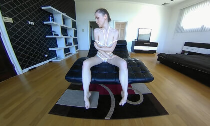 POV Photographer - Leather Lounge - Solo Model Gets Naked