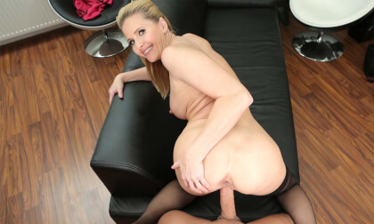 Naughty Mrs. Peterson - Busty Mature Babe Rides Dick