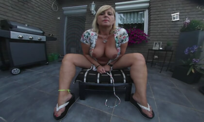 Chrissy - Masturbating On Her Balcony For You - Shaved BBW