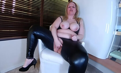 Stella - Horny Ass In Latex - Busty Blonde BBW