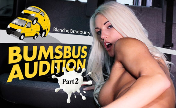 Bumsbus Audition II Part 2 - Busty Blonde Fucks in Car