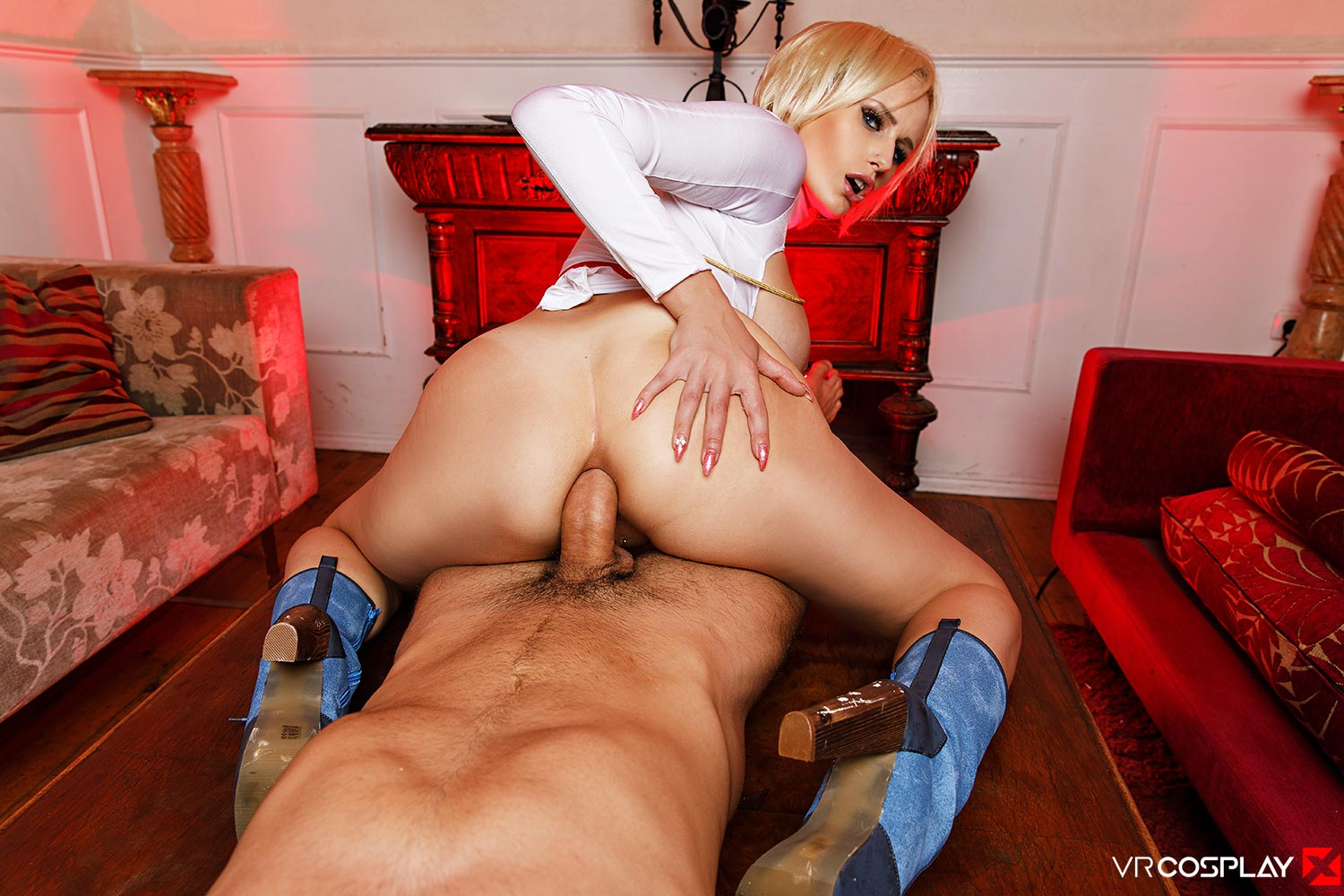 Girl gets over power girl anal