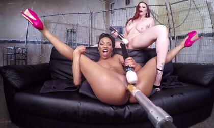 Two Girls One Fucking Machine! - Lesbian Toying Machine