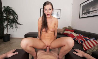 The Colleagues Reunite POV - Shaved Blonde Gives Footjob and Fucks