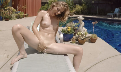 Suburban Exhibitionist - Shaved MILF Fingering Outside