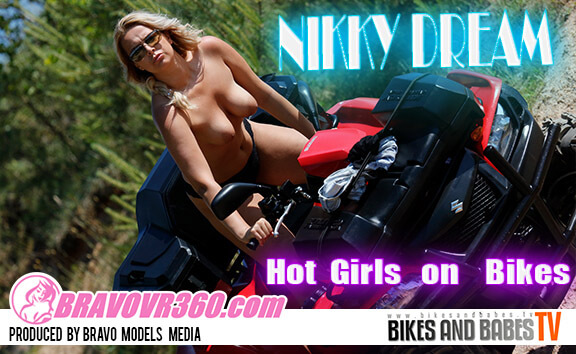 Gorgeous Nikky Dream Gets Naked on Her Motorcycle