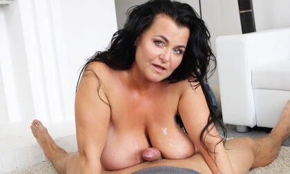 Busty Reny Gets Cum On Her Boobs - MILF Big Tits Riding