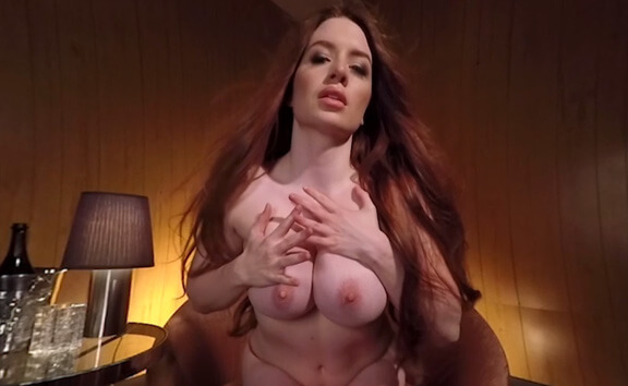 Veronica Vain Topless Lapdance - Redhead in Hot Red Lingerie